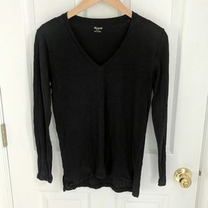 Madewell Whisper Cotton Long Sleeve V Neck Black